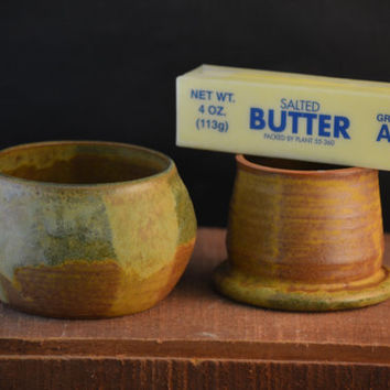 Handmade Ceramic French Butter Crock - Antique Blue and Redwood