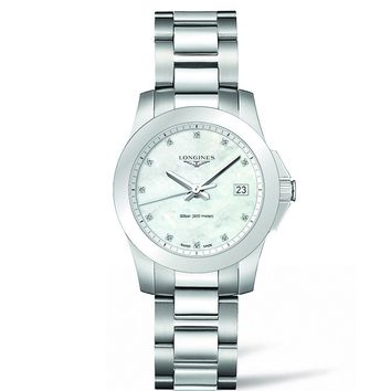 LONGINES CONQUEST MOTHER OF PEARL DIAMOND DIAL 34MM LADIES WATCH STAINLESS STEEL