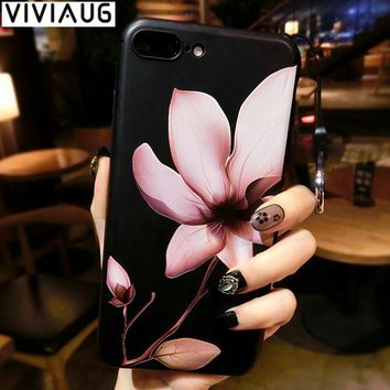 Chinese Lotus Flower Classic Case for iPhone 7 8 plus X Phone Case for iPhone 6 6s Plus Soft TPU Cover Coque Floral Capa Funda