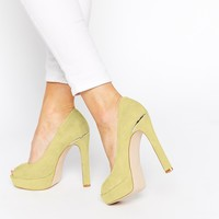 Faith Cottage Acid Yellow Peep Toe Platform Shoes
