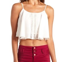 Crochet & Chiffon Swing Crop Top by Charlotte Russe - Ivory