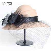 YIFEI Summer Beach Hat Women Wool Floral Veil Netting Feather Wide Brim Derby Hat Floppy Hat Fedoras Formal Occasion Dance Party