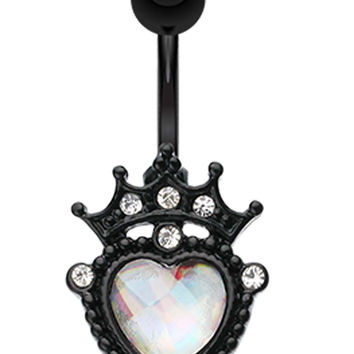 Blackline Crowned Opalescentite Heart Belly Button Ring