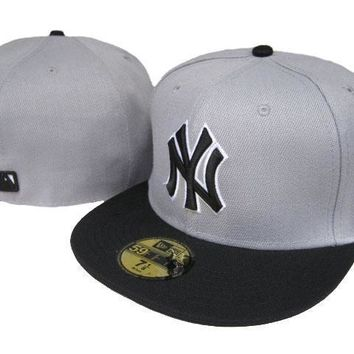 ESBON New York Yankees New Era MLB Authentic Collection 59FIFTY Caps Grey-Black