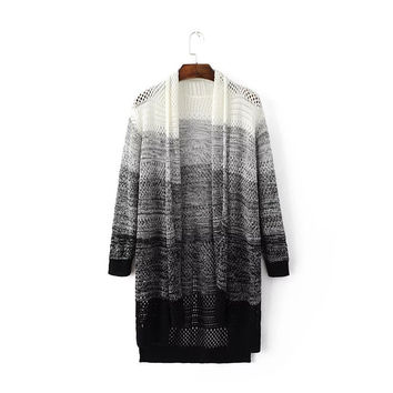 Stylish Hollow Out Gradient Long Sleeve Sweater Jacket [6332340164]