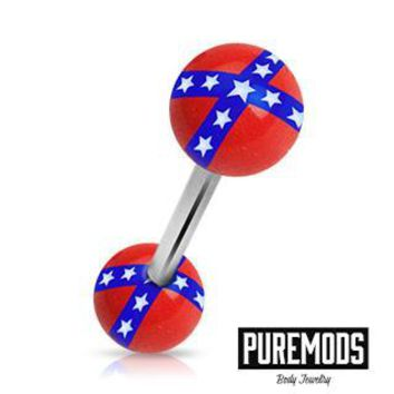 Confederate Flag Tongue Barbell (14G)