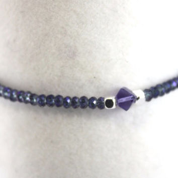 "Yoga Inspired Crystal Bracelet, ""Purple Rainbow"", Stackable Jewelry: Genuine AA Quality Crystals with Swarovski and Sterling SIlver Accents"