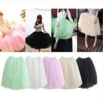 DCCKIX3 2014 Women Fashion 5 Layers Tutu Princess Chiffon Mesh Skirt Petticoat Knee-Length Sweet Girl Candy Color Skirts = 1946820548
