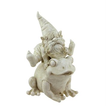 "9.75"" Distressed Ivory Frog and Gnome Spring Outdoor Patio Garden Statue"