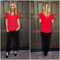 Reinvent Short Sleeve Blouse - Red