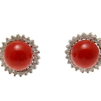 GENUINE NATURAL RED CORAL BALL DIAMOND STUD POST EARRINGS SOLID 14K WHITE GOLD