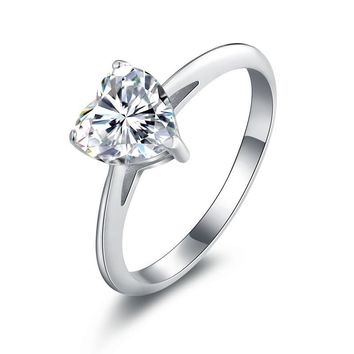 Lissette 1.5CT Heart Solitaire IOBI Cultured Diamond Ring