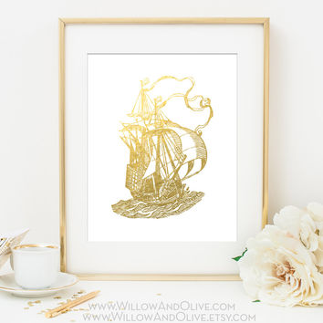 SAILING SHIP 2 Faux Gold Foil Art Print