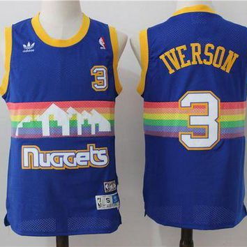 PEAP Denver Nuggets 3 Allen Iverson Retro Basketball Swingman Jersey