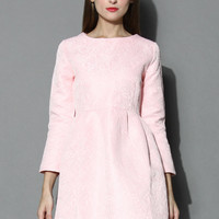 Candy Pink Floral Jacquard Dress Pink