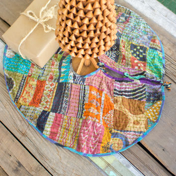 Vintage Kantha Fabric Tree Skirt 36 Dia