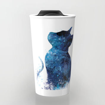 Blue Cat Travel Mug by monnprint