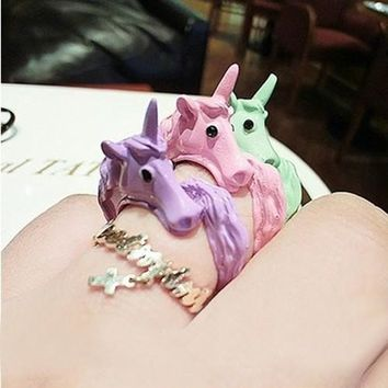 Lovely Candy Color Korean Unicorn Finger Ring Enamel Horse Party Rings For Women Fashion Jewelry