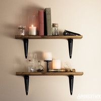 Rustic Shelves - Sold Individually - Simple Brackets + Walnut Stain Pictured - Industrial Chic - Rustic Modern Decor - Upcycled Wooden Shelf
