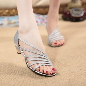 Fashion Gold and Silver Sandals Roman Banded Hole Shoes 2017 Summer Women's Shoes