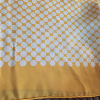Yellow White Polka Dot Silk Scarf, Tekbir Designer, 1960s SUMMER SALE