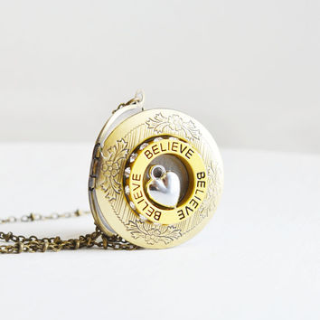 long locket necklace,photo locket charm,antique brass chain,simple necklace,heart locket,believe in yourself,friendship necklace,couple gift