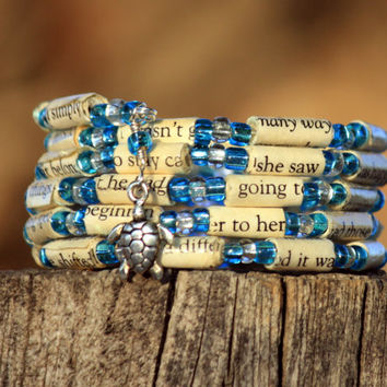 The Last Song Paper Bead Bracelet - Spiral Wrap Bracelet - Memory Wire - Upcycled - Teal