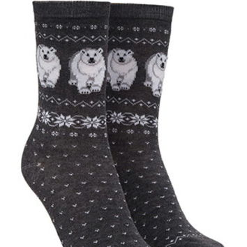 Polar Bear Graphic Crew Socks