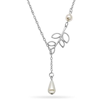 Lovely Leaves Lariat Pearl Necklace
