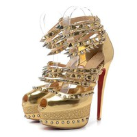 Christian Louboutin Fashion Edgy Rivets Lrregular Hollow  Red Sole Heels Shoes