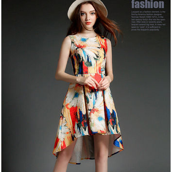 Floral Print Sleeveless Asymmetrical Pleated Dress