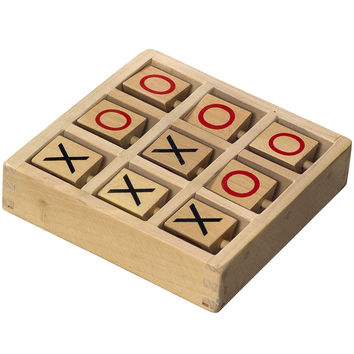 Tic-Tac-Toe Wooden Travel Board Game With Fixed Pieces '