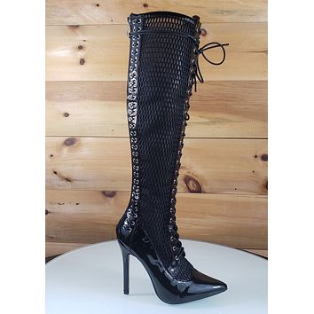 Top Show Black Mesh Corset Lace Up Pointy Toe Knee Boots High Heels