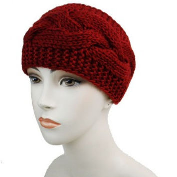 BURGUNDY BIG CABLE DESIGN SOFT HEADBAND