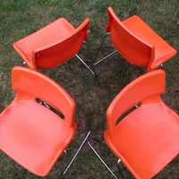70s Overman Chairs by Svante Schoblom. 4 Vintage 1970s Stacking Plastic Chairs