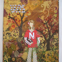 "Autumn Painting, Mixed Media Canvas, Collage Painting, Mixed Media Girl Art, Football Fan, Nebraska Huskers, Fall Canvas, 18x24"" Painting"