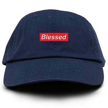 Blessed Supreme Box Logo Custom Dad Hat Adjustable Baseball Cap New - Navy