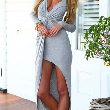 Gray Deep V Asymmetric Draped Maxi Dress