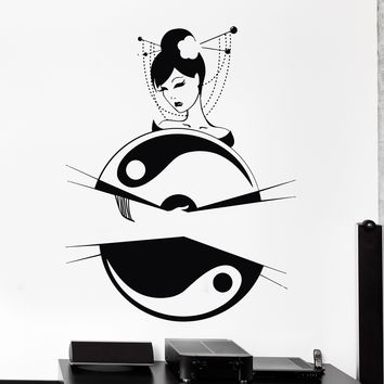 Wall Vinyl Decal Geisha Beautiful Japanese Girl Yin Yang Fan Home Decor Unique Gift z4119