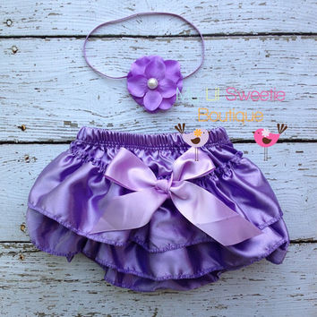 Light purple Satin Bloomer Set- Headband and Bloomers- Newborn Outfit - Baby Girl Outfit - Cake smash outfit-  Photo Prop