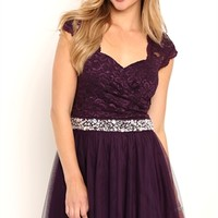 Dress with Lace Cap Sleeves