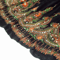 Black Mini Skirt: Short Gypsy Skirt, Flowy Boho Indian Skirt, Bohemian Orange Flower Sequin Cover Up