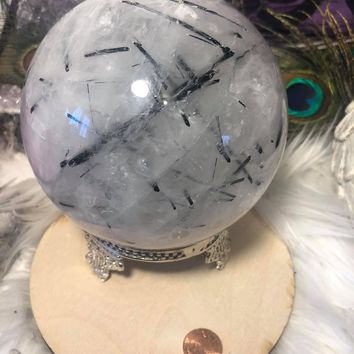 Black tourmaline in quartz large crystal sphere