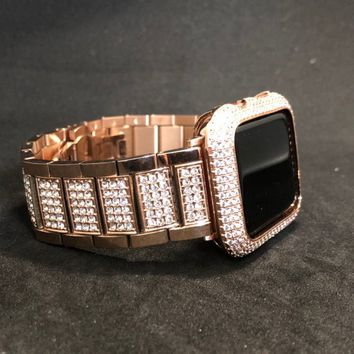 Apple Watch Band 40mm 44mm Series 4 Womens Mens Rose Gold Stainless Steel Rhinestone Crystal Diamond Iwatch Bling Smart Watch
