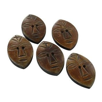 Hand Carved Tribal Maid Horn Buttons