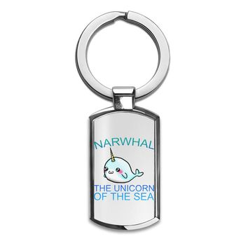 Narwhal The Unicorn Of The Sea  Slogan   Premium Stainless Steel Key Ring| Enjoy A Unique  & Personalized Key Hanger To Carry Your Keys W/ Style| Custom Quality Prints| Household Souvenirs By Styleart