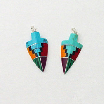 Inlay Gemstone Arrowhead Pendant Native American Inlaid Stones Turquoise Zuni Style Coral Sugilite Malachite Spiny Oyster Southwestern