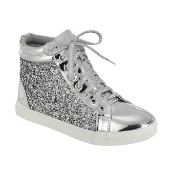 FP39 Women's Glitter Lace Up Ankle High Top Fashion Street Sneakers