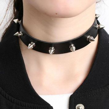 ac VLXC 1PC Chic Punk Rock Gothic Unisex Women Men Leather Silver Spike Rivet Stud Collar Choker Necklace Statement Jewelry