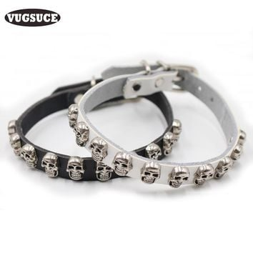VUGSUCE Skull Studded Dog Collar PU Leather Adjustable Dog Cat Collar Necklace Accessories for Small Medium Dogs Pet Products